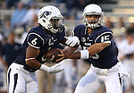 Nevada quarterback Tyler Stewart hands off to Don Jackson during an NCAA college football game in Reno, Nev. on Thursday, Sept. 3, 2015. (AP Photo/Cathleen Allison)