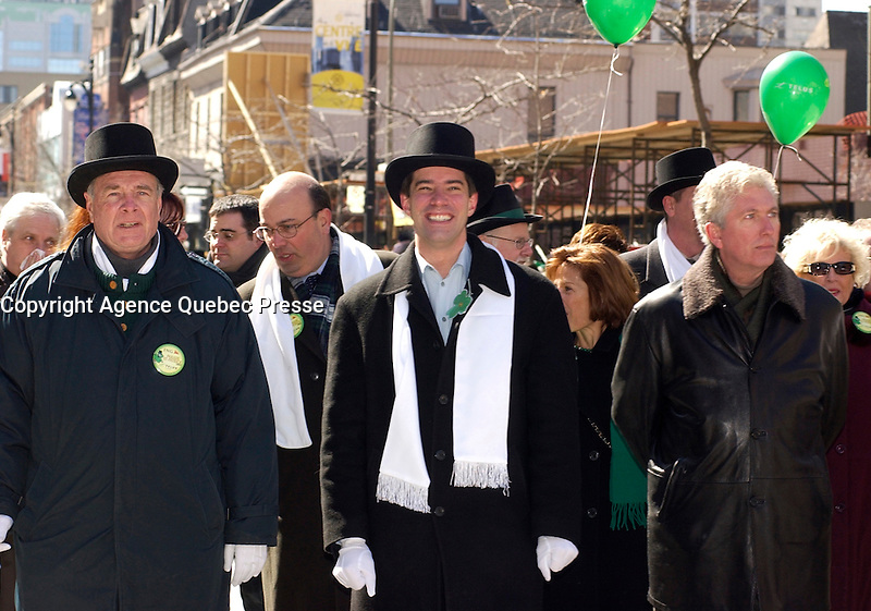 March 17, 2002, Montreal, Quebec, Canada; <br /> <br /> Paul martin, Canada's Finances Minister (L), Andre Boisclair, Quebec Minister (M) and Gilles Duceppe, Leader of the Bloc Quebecois (R) walk with participants during the 178th St-Patrick parade, March 17, 2002 in Montreal, Canada.<br /> <br /> The Montreal parade which was seen by approximatly 700 000 persons is one of the oldest and one of the biggest in North-America, with Boston and New York.<br /> <br /> <br /> <br /> <br /> <br /> <br /> <br /> <br /> (Mandatory Credit: Photo by Sevy - Images Distribution (&copy;) Copyright 2002 by Sevy<br /> <br /> NOTE :  D-1 H original JPEG, saved as Adobe 1998 RGB
