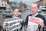 Jeremy Burke and Cormac OMahony who have organised a public meeting to voice their protest against the decision of the Government to put back the Castleisland bypass for two years..
