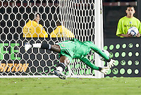 Galaxy goalie Donovan Ricketts (1) dives to stop a goal during the first half of the friendly game between LA Galaxy and Real Madrid at the Rose Bowl in Pasadena, CA, on August 7, 2010. LA Galaxy 2, Real Madrid 3.