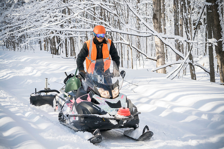 Grooming the Noquemanon Trails Network's Snow Bike Route in Marquette, Michigan.