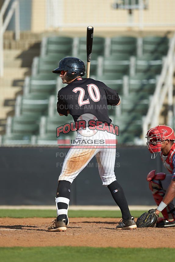 Tate Blackman (20) of the Kannapolis Intimidators at bat against the Hagerstown Suns at Kannapolis Intimidators Stadium on May 6, 2018 in Kannapolis, North Carolina. The Intimidators defeated the Suns 4-3. (Brian Westerholt/Four Seam Images)
