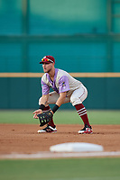 Frisco RoughRiders Charles Leblanc (12) during a Texas League game against the Amarillo Sod Poodles on July 13, 2019 at Dr Pepper Ballpark in Frisco, Texas.  (Mike Augustin/Four Seam Images)