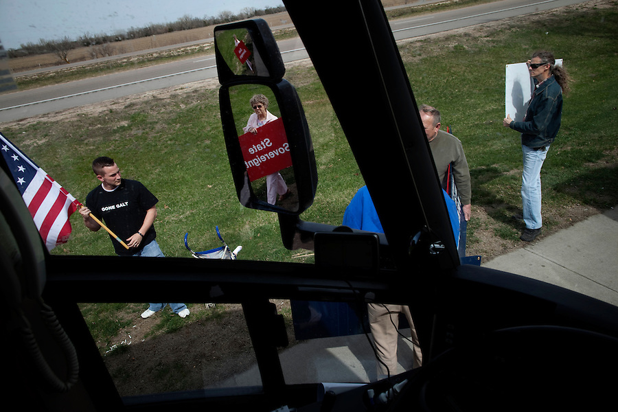 Interstate 80 near Kearney, Nebraska, April 1, 2010 - Local Tea Party supporters hold an impromptu gathering at a rest area along Interstate 80, while the Tea Party Express buses stop for a bathroom break. .