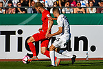 10.08.2019, Donaustadion, Ulm, GER, DFB Pokal, SSV Ulm 1846 Fussball vs 1. FC Heidenheim, <br /> DFL REGULATIONS PROHIBIT ANY USE OF PHOTOGRAPHS AS IMAGE SEQUENCES AND/OR QUASI-VIDEO, <br /> im Bild Sebastian Griesbeck (Heidenheim, #18), Marcel Schmidts (Ulm, #15)<br /> <br /> Foto © nordphoto / Hafner