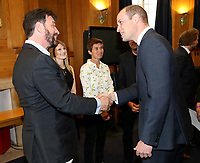 18 April 2017 - Prince William, Duke of Cambridge attends a reception where he meets TV presenter Nick Knowles, runners who feature in the documentary and the production team involved in the filming ahead of the screening of the BBC documentary 'Mind over Marathon' at BBC Radio Theatre in London.  The screening also launches the BBC season on mental health. Photo Credit: ALPR/AdMedia