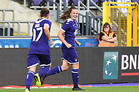 20190807 - ANDERLECHT, BELGIUM : Anderlecht's Tine De Caigny  pictured celebrating her third goal and the 3-0 lead during the female soccer game between the Belgian RSCA Ladies – Royal Sporting Club Anderlecht Dames  and the Greek FC PAOK Thessaloniki ladies , the first game for both teams in the Uefa Womens Champions League Qualifying round in group 8 , Wednesday 7 th August 2019 at the Lotto Park Stadium in Anderlecht  , Belgium  .  PHOTO SPORTPIX.BE | DAVID CATRY