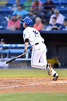 Asheville Tourists center fielder Eric Toole (14) swings at a pitch during a game against the West Virginia Power at McCormick Field on May 10, 2017 in Asheville, North Carolina. The Tourists defeated the Power 4-3. (Tony Farlow/Four Seam Images)