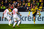 11.05.2019, Signal Iduna Park, Dortmund, GER, 1.FBL, Borussia Dortmund vs Fortuna Düsseldorf, DFL REGULATIONS PROHIBIT ANY USE OF PHOTOGRAPHS AS IMAGE SEQUENCES AND/OR QUASI-VIDEO<br /> <br /> im Bild | picture shows:<br /> Jacob Bruun Larsen (Borussia Dortmund #34) gegen Dawid Kownacki (Fortuna #27) und Matthias Zimmermann (Fortuna #25), <br /> <br /> Foto © nordphoto / Rauch
