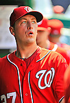 10 July 2011: Washington Nationals pitcher Jordan Zimmermann returns to the dugout during a game against the Colorado Rockies at Nationals Park in Washington, District of Columbia. The Nationals shut out the visiting Rockies 2-0 salvaging the last game their 3-game series at home prior to the All-Star break. Mandatory Credit: Ed Wolfstein Photo