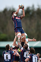 Josh Tyrell of Doncaster Knights wins the ball at a lineout. Greene King IPA Championship match, between Ealing Trailfinders and Doncaster Knights on February 9, 2019 at the Trailfinders Sports Ground in London, England. Photo by: Patrick Khachfe / Onside Images
