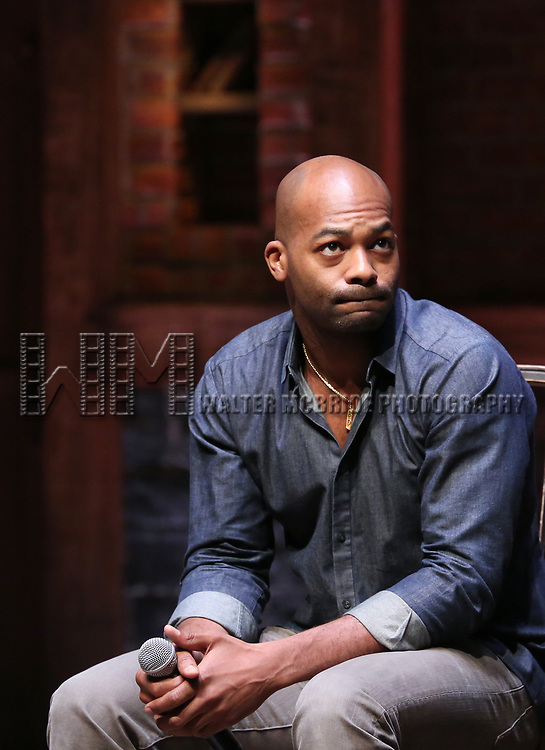 "Brandon Victor Dixon during the Q & A for The Rockefeller Foundation and The Gilder Lehrman Institute of American History sponsored High School student #EduHam matinee performance of ""Hamilton"" at the Richard Rodgers Theatre on 3/15/2017 in New York City."