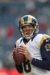 St. Louis Rams quarterback Sam Bradford passes warms up before their game against the Seattle Seahawks at CenturyLink Field in Seattle, Washington on December 30, 2012.   Bradford completed 25 of 42 passes for 252 yards, passed for one touchdown and threw one interception in the Rams 13-20 loss to the Seahawks.  © 2102.  Jim Bryant Photo. All Rights Reserved.