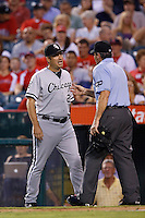 Chicago White Sox Manager Robin Ventura #23 argues with umpire Angel Hernandez during a game against the Los Angeles Angels at Angel Stadium on September 22, 2012 in Anaheim, California. Los Angeles defeated Chicago 4-2. (Larry Goren/Four Seam Images)