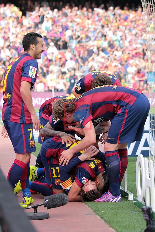 League BBVA 2014/2015. Game: 32.<br /> FC Barcelona vs Valencia CF: 2-0.<br /> Lionel Messi, Dani Alves, Pedro Rodriguez, Neymar, Sergi Roberto &amp; Ivan Rakitic.