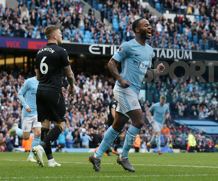 Raheem Sterling of Manchester City celebrates scoring their second goal during the premier league match at the Etihad Stadium, Manchester. Picture date 22nd April 2018. Picture credit should read: Simon Bellis/Sportimage