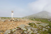 Foggy weather along the Appalachian Trail (Gulfside Trail) near Mount Clay in Thompson and Meserve's Purchase of the New Hampshire White Mountains during the summer months.
