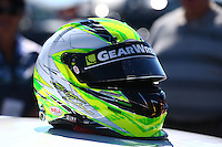 Mar 14, 2014; Gainesville, FL, USA; Detailed view of the helmet of NHRA pro stock driver Shane Tucker during qualifying for the Gatornationals at Gainesville Raceway Mandatory Credit: Mark J. Rebilas-USA TODAY Sports
