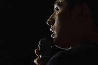 Manabu Terata, a politician with the opposition Democratic party of Japan (DPJ) talks at a protest rally by SEALD activists outside the Japanese Diet building, Nagatacho, Tokyo, Japan. Friday July 10th 2015 SEALD (Student Emergency Action for Liberal Democracy) is a student activist group that is against the neoliberal policies and nationalist agenda of Japanese Prime Minister, Shinzo Abe.