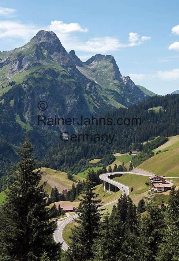 Austria, Vorarlberg, Bregenzerwald, Schroecken: village at Bregenzerwald Road with Widderstein mountain (2.533 m)