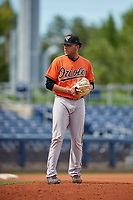 Baltimore Orioles pitcher Jayvien Sandridge (57) gets ready to deliver a pitch during a Florida Instructional League game against the Tampa Bay Rays on October 1, 2018 at the Charlotte Sports Park in Port Charlotte, Florida.  (Mike Janes/Four Seam Images)