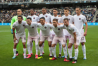 LOS ANGELES, CA - MARCH 01: Inter Miami CF starting eleven during a game between Inter Miami CF and Los Angeles FC at Banc of California Stadium on March 01, 2020 in Los Angeles, California.