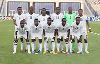 Ghana's team from left to right, back row, David Addy (6), Mohammed Rabiu (13), Daniel Addo (5), Bright Addae (19), Daniel Agyei (1), Andre Ayew (10), front row, Abeiku Quansah (7), Samuel Inkoom (2), Dominic Adiyiah (20), Emanuel Agyemang-Badu (8), Ransford Osei (18), stands on the field before the game against Hungary at the FIFA Under 20 World Cup Semi-final match at the Cairo International Stadium in Cairo, Egypt, on October 13, 2009. Costa Rica won the match 1-2 in overtime play. Ghana won the match 3-2.      ........ . .