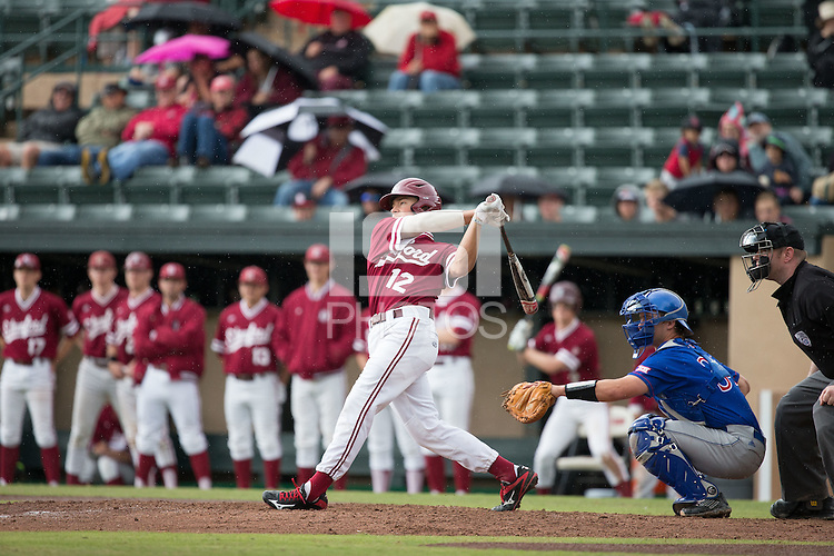 STANFORD, CA - March 20, 2016:  Stanford plays Kansas at Sunken Diamond. Stanford won 6-2. Duke Kinamon hits his first career home run.