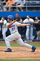 Nelson Maldonado (27) of the Florida Gators follows through on his swing against the Wake Forest Demon Deacons in the completion of Game Two of the Gainesville Super Regional of the 2017 College World Series at Alfred McKethan Stadium at Perry Field on June 12, 2017 in Gainesville, Florida. The Demon Deacons walked off the Gators 8-6 in 11 innings. (Brian Westerholt/Four Seam Images)