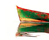 PANAMA, boat reflecting in Caribbean Sea, Bocas del Toro