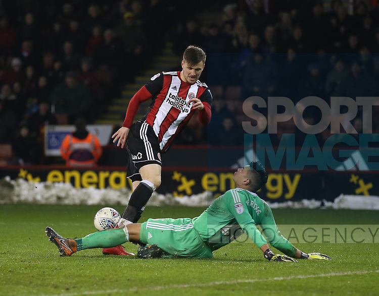 Neil Etheridge of Cardiff City saves a Lee Evans of Sheffield Utd chance during the Championship match at Bramall Lane Stadium, Sheffield. Picture date 02nd April, 2018. Picture credit should read: Simon Bellis/Sportimage