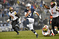STATE COLLEGE, PA - NOVEMBER 24: Penn State QB Trace McSorley (9) runs away from three Maryland defenders for his second rushing touchdown of the first half during the Maryland Terrapins vs. the Penn State Nittany Lions November 24, 2018 at Beaver Stadium in State College, PA. (Photo by Randy Litzinger/Icon Sportswire)