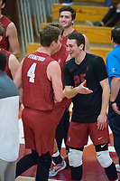 STANFORD, CA - December 30, 2017: Eric Beatty, Jake Stuebner at Burnham Pavilion. The Stanford Cardinal defeated the Calgary Dinos 3-1.