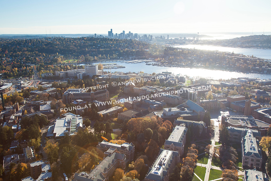 Aerial photo of the University of Washington campus with Seattle skyline in the background
