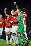 Manchester United's Wes Brown and Manchester United's Edwin van der Sar celebrate during the Champions League semi-final 2nd leg match at Old Trafford, Manchester. Picture date 29th April 2008. Picture credit should read: Simon Bellis/Sportimage