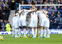 Liverpool, UK. Saturday 01 November 2014<br /> Pictured: Swansea players huddle before kick off.<br /> Re: Premier League Everton v Swansea City FC at Goodison Park, Liverpool, Merseyside, UK.