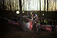 Ellen Van Loy (BEL/Telenet-Fidea) leading the race (with the sun setting behind her)<br /> <br /> Superprestige Diegem 2015