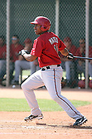 Wagner Mateo #18 of the Arizona Diamondbacks plays in a minor league spring training game against the Los Angeles Angels at the Angels minor league complex on March 17, 2011  in Tempe, Arizona. .Photo by:  Bill Mitchell/Four Seam Images.