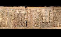 Ancient Egyptian Book of the Dead papyrus - Spell 126 - what to say in the judgement before Osiris, Iufankh's Book of the Dead, Ptolemaic period (332-30BC).Turin Egyptian Museum.  Black background<br /> <br /> Spell 125 instruct the deceased as to waht to say infront of Osiris and the Forty Two Judges in the Hall of Two Maat, the netherworlds Judgement Hall. <br /> <br /> The translation of  Iuefankh's Book of the Dead papyrus by Richard Lepsius marked a truning point in the studies of ancient Egyptian funereal studies.