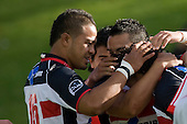 Ilaisa Massi & fellow Steelers  congratulate Tasesa Lavea. Air New Zealand Cup rugby game between the Counties Manukau Steelers & Manawatu Turbos, played at Growers Stadium Pukekohe on Staurday September 20th 2008..Counties Manukau won 27 - 14 after trailing 14 - 7 at halftime.