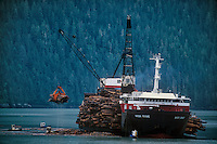 731000327 a working logging ship the haida brave loads floating logs or timber on board with help from small tug boats for transport to international destinations stewart bay british columbia canada - image is not property or model released