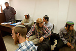 Four settlers, at center, affiliated with the ultra rightwing Jewish movement of 'Kach', awaits hearing at a Jerusalem court. The state advocasy demands their arrest, to stand trial for attacking Israeli policemen in the West Bank.