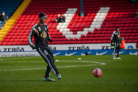 BLACKBURN, ENGLAND - JANUARY 24:   New signing Kyle Naughton of Swansea City  warms up during the FA Cup Fourth Round match between Blackburn Rovers and Swansea City at Ewood park on January 24, 2015 in Blackburn, England.  (Photo by Athena Pictures/Getty Images)