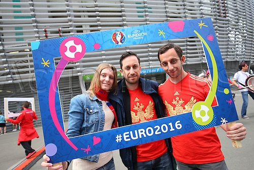 15.06.2016. Lille, France. UEFA Euro 2016 Group B soccer match Russia and Slovakia at Stade Pierre Mauroy in Lille Metropole, France, 15 June 2016.  Russian fans