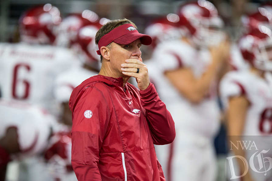Hawgs Illustrated/Ben Goff<br /> Chad Morris, Arkansas head coach, during warmpups before the game vs Texas A&M Saturday, Sept. 29, 2018, during the Southwest Classic at AT&T Stadium in Arlington, Texas.