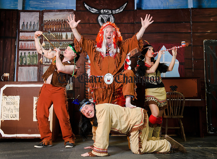 """Eoin Keane as Pronto, Donal Curtin as Big Chief Sitting Bull, Jenny O Connor as Minnie Ho Ho and John Haren, at front, as hank  at rehearsals for the Ennistymon Choral Society's production of """"How The West Wasn't Won"""" which will run in Seaworld hall, Lahinch from 16th to 20th March at 8.15p.m. nightly. Photograph by John Kelly."""
