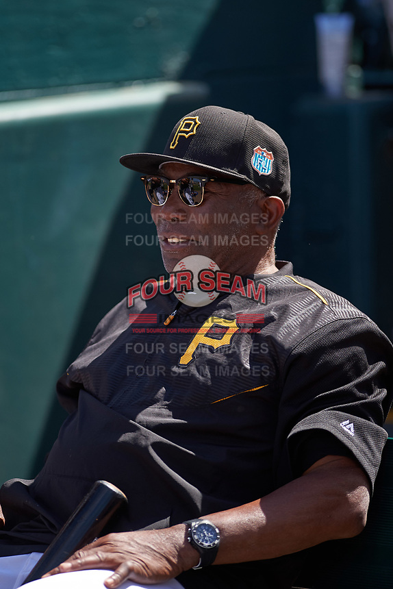 Pittsburgh Pirates coach Manny Sanguillén before a Spring Training game against the Boston Red Sox on March 9, 2016 at McKechnie Field in Bradenton, Florida.  Boston defeated Pittsburgh 6-2.  (Mike Janes/Four Seam Images)