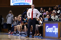 DURHAM, NC - NOVEMBER 29: Head coach Mike McLaughlin of the University of Pennsylvania during a game between Penn and Duke at Cameron Indoor Stadium on November 29, 2019 in Durham, North Carolina.