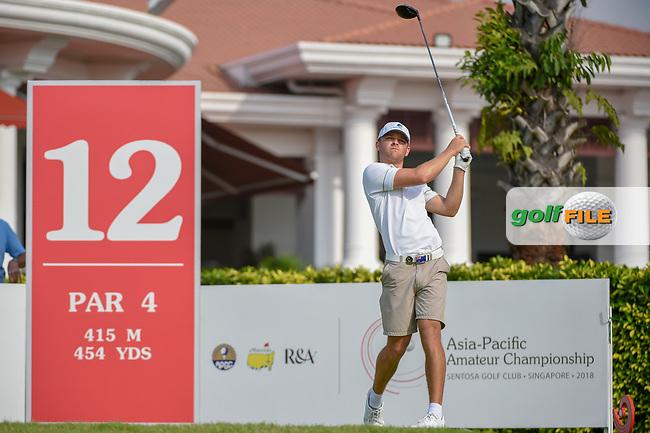 Blake WINDRED (AUS) watches his tee shot on 12 during Rd 2 of the Asia-Pacific Amateur Championship, Sentosa Golf Club, Singapore. 10/5/2018.<br /> Picture: Golffile | Ken Murray<br /> <br /> <br /> All photo usage must carry mandatory copyright credit (© Golffile | Ken Murray)