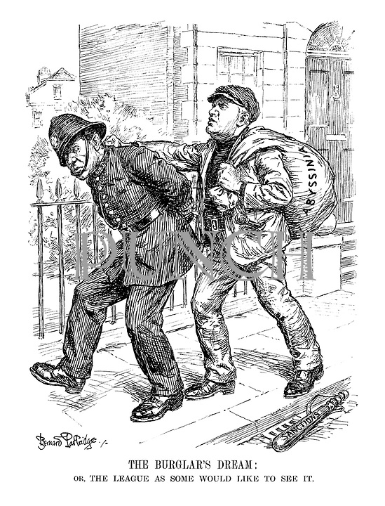 The Burglar's Dream: or, The League as Some Would Like to See it. (Mussolini as a buglar having stolen the Abyssinian loot, handcuffs a British policeman who has dropped his Sanctions cosh)
